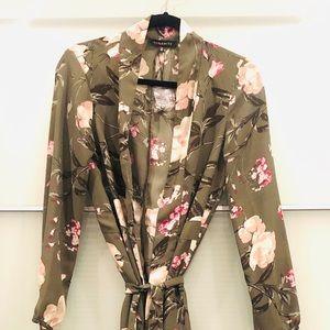 Olive Green Floral Kimono - M